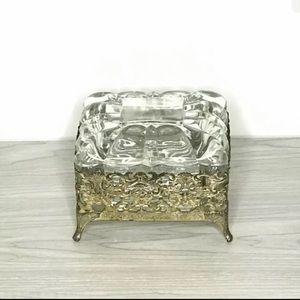 Storage & Organization - Glass and Ormolu Filigree Vanity Trinket Box